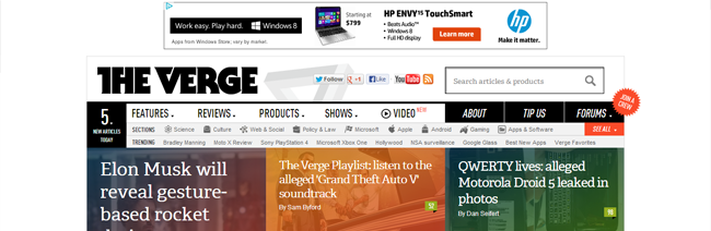 TheVerge relies on the main logo to return home, a very common convention.